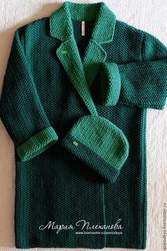 Купить Пальто вязаное двухцветное bicolor - тёмно-зелёный, пальто женское, пальто, пальто оверсайз