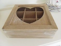 LIME WASHED WOODEN STORAGE BOX WITH A HEART LID AND MESH CHIC N SHABBY