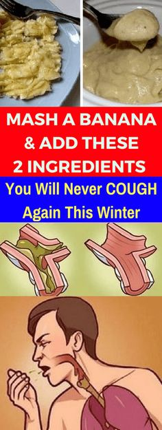 Banana & Add These 2 Ingredients. You Will Never Cough Again This Winter! Mash A Banana & Add These 2 Ingredients. You Will Never Cough Again This Winter! Homemade Cold Remedies, Cold Remedies Fast, Natural Cold Remedies, Flu Remedies, Health Remedies, Bronchitis Remedies, Homeopathic Remedies, Toddler Cough Remedies, Honey For Cough