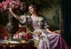 Dama w liliowej sukni (z kwiatami) Władysław Czachórski
