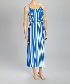 Look at this #zulilyfind! Blue & White Stripe Blouson Maxi Dress #zulilyfinds