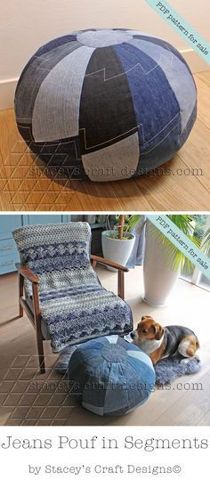 Jeans Pouf in Segments PDF Pattern by Stacey's Craft Designs. Crochet blanket by @teewecom