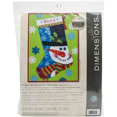 "Patterned Snowman Stocking Needlepoint Kit-16"""" Long Stitched In Wool & Thread"