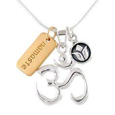 Om (Aum) Pendant, Lotus Flower & Namaste Charm Necklace in Sterling Silver & Gold Vermei, #8457