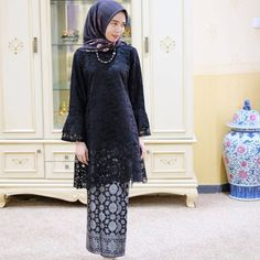 Image may contain: 1 person, standing and indoor Model Baju Hijab, Model Kebaya Brokat Modern, Kebaya Modern Hijab, Kebaya Muslim, Kebaya Hijab, Dress Brukat, Hijab Style Dress, Batik Dress, Dress Muslim Modern