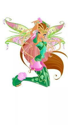 Winx Club - flora bloomix. I like her hair in this one with the blonde plaits on her brown hair :)