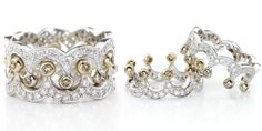 "CHAMPAGNE CROWN RING  2 Interlocking & Interchangeable ""crowns"" feature 0.38cts champagne diamonds in 18K gold."