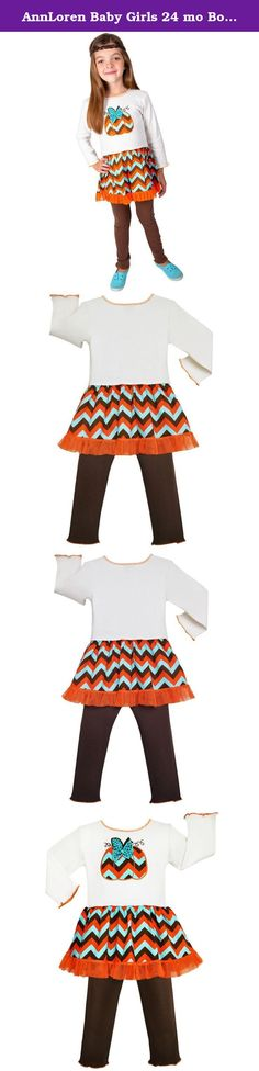 AnnLoren Baby Girls 24 mo Boutique Chevron Pumpkin Dress Thanksgiving Clothes. Another lovely AnnLoren 2-Piece Autumn Chevron Pumpkin Dress & Legging Outfit! Cream-colored long sleeve dress complete with a stylish chevron pumpkin embroidered patch, complete with attached Chevron skirt trimmed with Orange tulle. Brown-knit cotton leggings are finished with an elastic Waistband for maximum fit and comfort. Made from 100% Cotton. SKU: PATCH-FS-288LS.