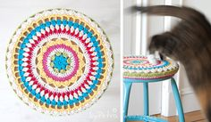 Crochet stool cover tutorial in English and Dutch. ♥♥♥