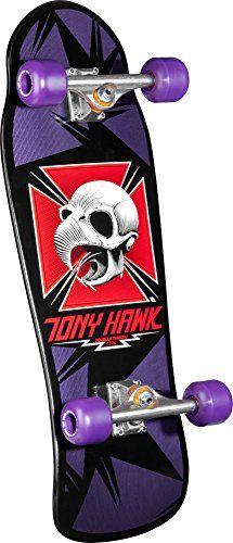 Powell Peralta Tony Hawk Complete Skateboard series Bones Brigade deck, Independent Trucks Bones Reds Bearings, Mini Cubics Purple Wheels, Mini Logo hardware, risers and grip tape. Old School Skateboards, Vintage Skateboards, Cool Skateboards, Skateboard Deck Art, Sk8 Shop, Skate And Destroy, Complete Skateboards, Skate Art, Logos