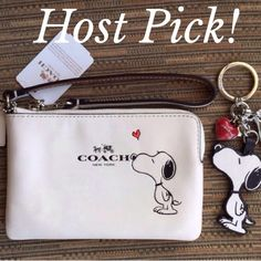 Coach & Snoopy Wristlet & Keychain NWT Coach & Snoopy Wristlet & Keychain NWT~Firm unless bundled Coach Bags Clutches & Wristlets