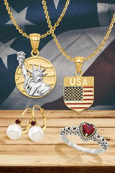 Happy Birthday, America! We want to take a moment to highlight some of our bestselling Made in the USA product lines, crafted and supported by our talented and dedicated local workforce. #QualityGold #4thofJuly #FlagPendant #Stars&Stripes #PatrioticJewelry #jewelry #July4th #gemstone #RedWhite&BlueJewelry #MadeInTheUSA American Flag Stars, Star Pendant, Silver Enamel, Jewelry Trends, Heart Charm, Pendant Jewelry, Highlight, Jewels, Gemstones