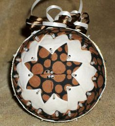Grandmother's Quilt ~   Brown Circles  ~~ Handcrafted Fabric ornament