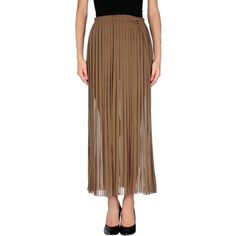 Met & Friends Long Skirt ($70) ❤ liked on Polyvore featuring skirts, khaki, brown pleated skirt, long khaki skirt, khaki maxi skirt, long brown skirt and brown maxi skirt