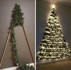 Space-saving Xmas tree decoration sends mums wild as kids can't knock it over Wall Christmas Tree, Simple Christmas, Xmas Tree, Christmas Home, Christmas Holidays, Flat Back Christmas Tree, Creative Christmas Trees, Christmas Is Over, Alternative Christmas Tree