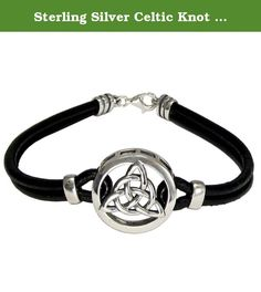 Sterling Silver Celtic Knot Triquetra Bracelet with Genuine Leather. Celtic knotwork is representative of Irish, Welsh and Scottish heritage, and is symbolically a representation of the infinite nature of the cycles of life. The Triquetra knot illustrates the threefold divinity found in many faiths, such as the Trinity in Christianity or the Triple Goddess of Neo-pagan traditions.
