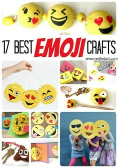 Oh man, these EMOJI DIY Ideas are just fantastic. So fun. And something for everyone - whether you are planning a DIY emoji party or just want to do a quick Emoji Craft after school, this collection of Emoji DIY ideas is just awesome and so so fun!