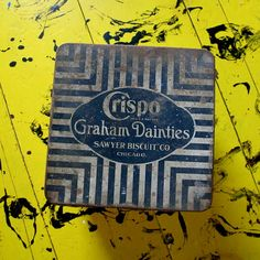 Vintage Crispo Graham Dainties Sawyer Biscuit Co Tin One Nice Side Reduced Price Cuz Rusted  Black White Stripes  Chicago Advertising