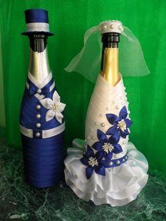 Recycled Wine Bottles, Wine Bottle Crafts, Jar Crafts, Diy And Crafts, Wedding Wine Glasses, Wedding Wine Bottles, Champagne Bottles, Wedding Crafts, Diy Wedding Decorations