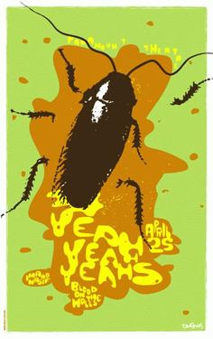 Original silkscreen concert poster for Yeah Yeah Yeahs at The Paramount Theatre in Seattle, WA. 18 x 28 Green, yellow, ochre, and brown on card stock. Signed and numbered Limited Edition of only 65! By artist Dan Stiles.