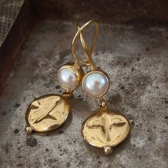 Handmade  White Pearl Dangle  Hook Earrings with by Ferimer