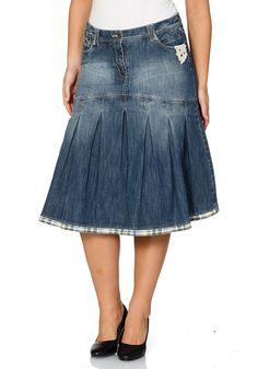 Typ , Jeansrock, |Material , Jeans, |Materialzusammensetzung , 98% Baumwolle, 2% Elasthan, |Länge , ca. 64 - 68 cm, |Optik , Jeans- und Karostoff, |Stil , 5-Pocket-Style, |Pflegehinweise , Maschinenwäsche, | ...