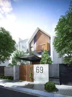 Phong's house on Behance House Gate Design, Facade Design, Exterior Design, Architecture Design, Modern Tropical House, Tropical House Design, Small House Design, Modern Barn House, Modern Minimalist House
