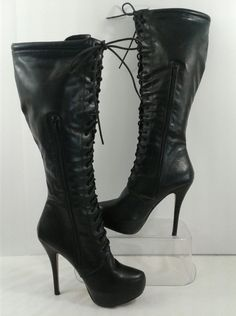 """Nature Breeze Women's Black Faux Leather Tall Lace Up 5"""" Heel Boots Shoes Size 9 #NatureBreeze #Tall5HeelBoots #Casual"""