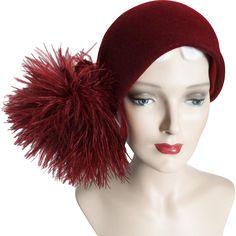 Vintage 1950s Hat//Bellini Original, Burgundy Cloche at Timeless Traveling Vintage on RubyLane.com