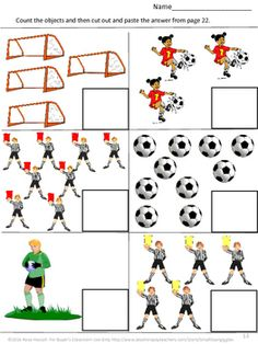 FREE: Soccer Math and Literacy Cut and Paste Sampler With this Sampler you will…