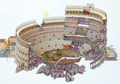 Colosseum+Section Drawing. Colosseum (Flavian Amphitheater). Rome, Italy. Imperial Roman. 70–80 C.E. Stone and concrete.