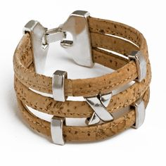Vegan Cork Bracelet Triple with Xs