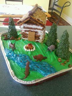 Log cabin pioneer cake