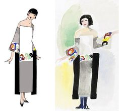 Sonia Delaunay poem dress redesigned for sewing. Delaunay created many of these dresses with lines from French poetry.