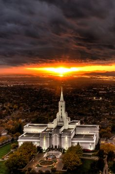The LDS Temple In Bountiful Ut. During an All time Sunset