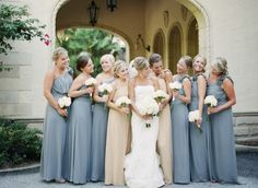 Different color gowns for maids of honor & bridesmaids