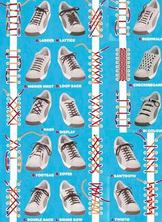 Who would have thought there were so many ways to lace up shoes? How to tie shoe laces! Who would have thought there were so many ways to lace up shoes? How to tie shoe laces! Diy Fashion, Mens Fashion, Fashion Tips, Fashion Hacks, Fashion Beauty, Fashion Dresses, Ways To Lace Shoes, Diy Vetement, Tie Shoelaces