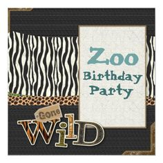 Zebra print Safari Zoo Birthday Party Invitation