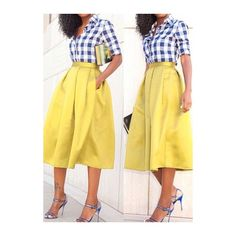 Rotita High Waist Pocket Decorated Flare Skirt ($20) found on Polyvore featuring women's fashion, skirts, yellow, a line midi skirt, yellow a line skirt, beige skater skirt, yellow skater skirt and midi skater skirt