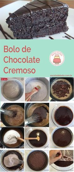 Aprenda agora como fazer este delicioso e cremoso bolo de chocolate. #bolo #bolodechocolate #façaevenda