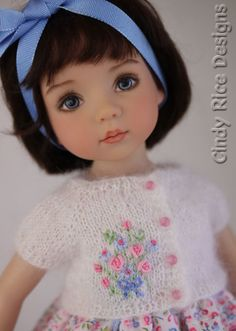 Hand embroidered knit cardigan made for Dianna Effner's Little Darling dolls by Cindy Rice Designs.