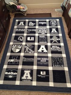 USU Blanket out of Game Day Shirts. Must make this someday! :)  *Have to pin because I'm an AGGIE!!!