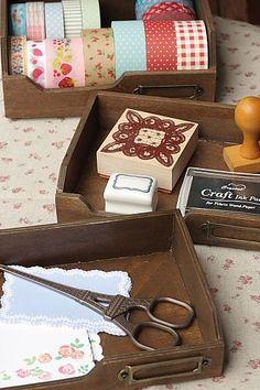 Photo3: Antique Style Wood Zakka Stocker Set