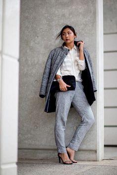 OFFICEWEAR[autumn]: grey trousers; ecru blouse