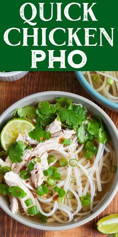 EASY shortcut version of traditional Vietnamese noodle soup. Quick weeknight chicken pho from expert Andrea Nguyen! Shortcut version of traditional Vietnamese noodle soup. Pho Recipe Easy, Easy Soup Recipes, Chicken Recipes, Cooking Recipes, Healthy Recipes, Pho Soup Recipe Chicken, Asian Chicken Noodle Soup, Recipes With Pho Noodles, Easy Noodle Soup Recipe