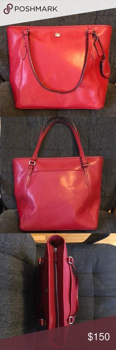 Brand new Coach purse Red coach tote that had barely been used. Great bag in good condition. Make an offer! I don't want this sitting in my closet.  Measurement on bottom of bag is 12 inches  Has large outside pocket. Inside has two smaller compartments, and one larger Zipper pocket. Coach Bags