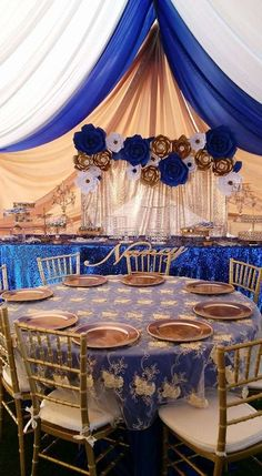 Royal Blue And Gold Decorations Pretty Wedding Ideas Weddi