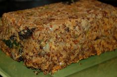 Vegan meatloaf: Quinoa Wild Mushroom Spinach Loaf with Cashew Gravy
