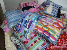 needlepoint cushions by rubykittyruby