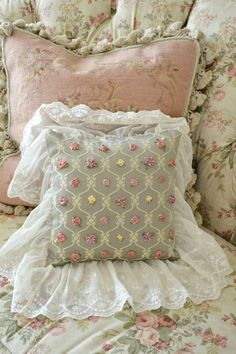 Handmade Vintage Pillows | Stunning Vintage Handmade Ribbonwork Pillow with by Jenneliserose, $65 ...